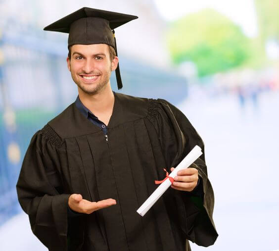 Action Financial Services LLC-man in a black graduation gown and cap